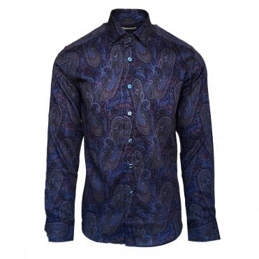 Etro Navy Shirt with Multi-Colour Paisley Pattern
