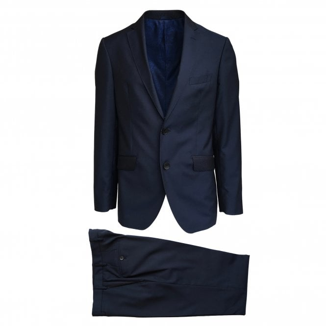 Etro Navy Suit with Contrast Top Collar and Pockets
