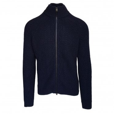 Etro Navy Zip-Up Cardigan