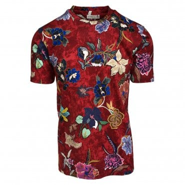 Etro Red Floral Pattern T-Shirt