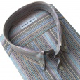 Etro Slim Fit Candy Stripe Shirt in Brown. 16365-6027-800