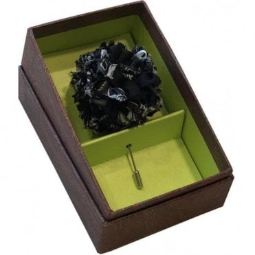 Etro 'Spilla Fiore' Black & White Silk Flower Brooch 4088 0001