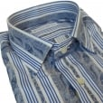 Etro Tonal Blue Striped and Paisley Detail Shirt 12908