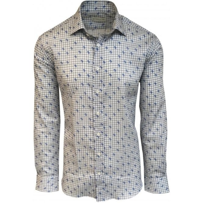 Etro White/Blue Paisley Pattern Shirt In Italian Cotton 12908 4741 0251