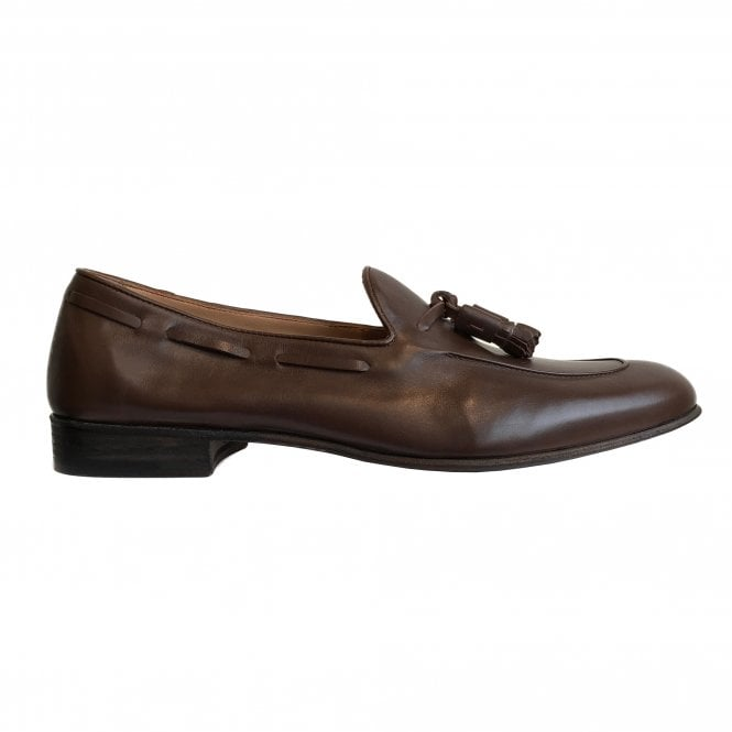 Fratelli Rossetti Brown Leather Tasselled Loafer