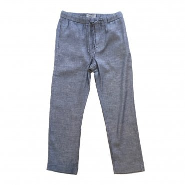 Frescobol Carioca Navy Melange Tailored Linen Chino
