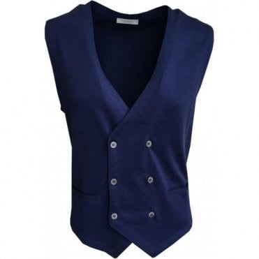 Gran Sasso Expressly For Robert Fuller Blue Double Breasted Waistcoat 57151 18196 580