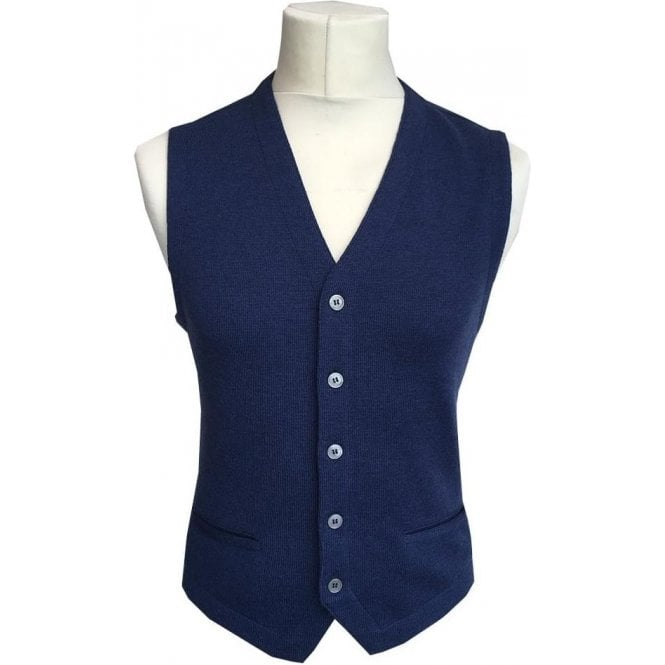 Gran Sasso Expressly For Robert Fuller Blue Single Breasted Waistcoat 56170 - 14252