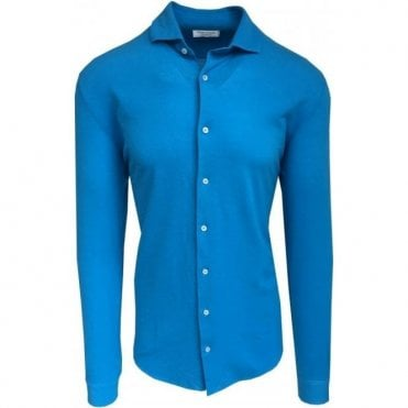 Gran Sasso Expressly For Robert Fuller Bright Blue Leisure Shirt In Italian Cotton 60120 81402 540
