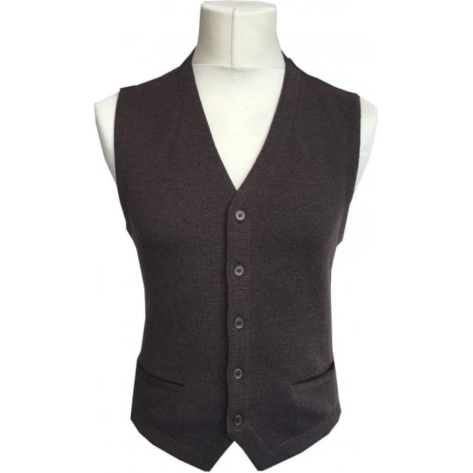 Gran Sasso Expressly For Robert Fuller Brown Single Breasted Waistcoat 56170 - 14252