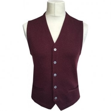 Gran Sasso Expressly For Robert Fuller Burgundy Single Breasted Waistcoat 56170 - 14252