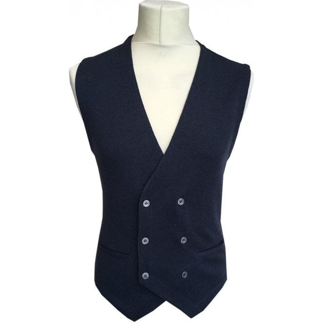 Gran Sasso Expressly For Robert Fuller Dark Blue Double Breasted Waistcoat 56151 - 14252