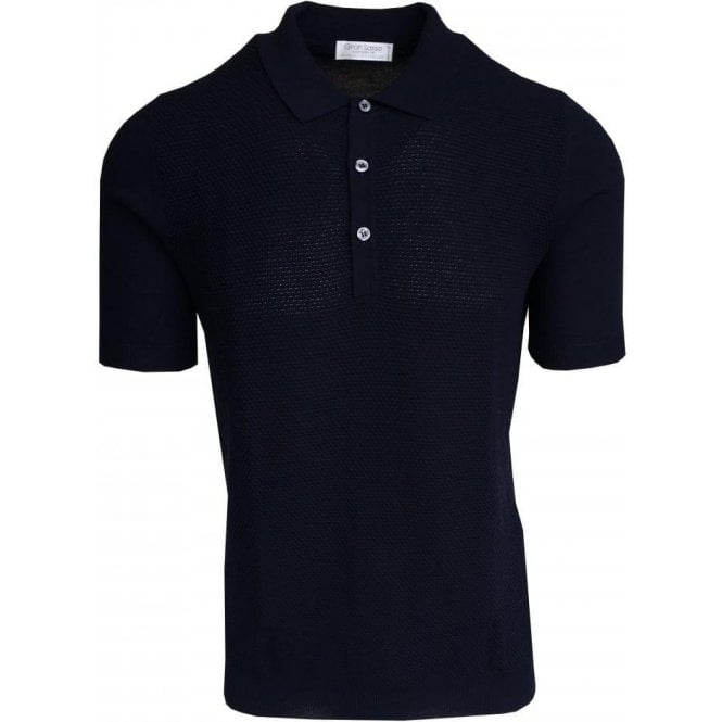 Gran Sasso Expressly For Robert Fuller Gran Sasso Navy Bobbled Polo Shirt In Italian Cotton 57133 20618 598