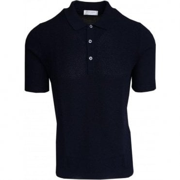 Gran Sasso Navy Bobbled Polo Shirt In Italian Cotton 57133 20618 598