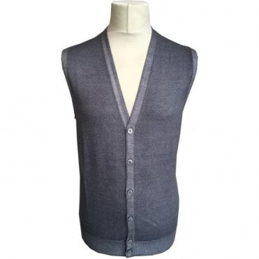 Gran Sasso Expressly For Robert Fuller Grey Sleeveless Cardigan 58102 22793