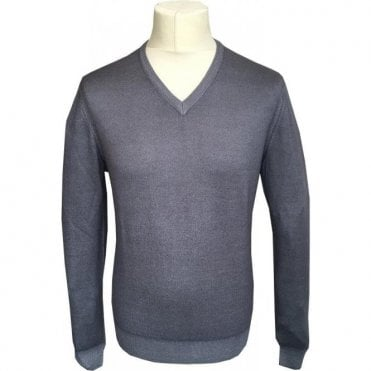 Gran Sasso Expressly For Robert Fuller Grey V-Neck Pullover 5115 22792