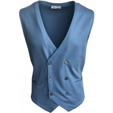Gran Sasso Expressly For Robert Fuller Light Blue Double Breasted Waistcoat 57151 18196 561