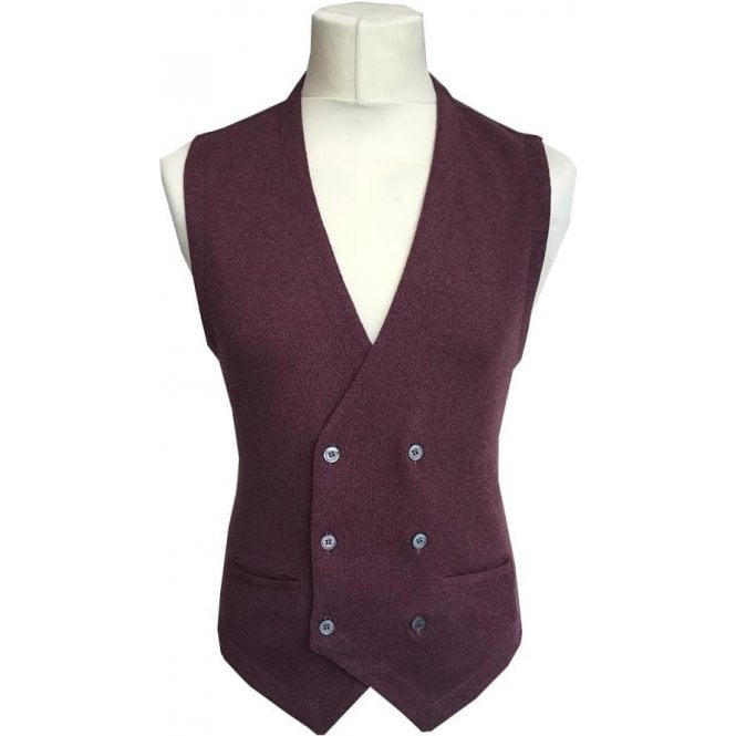 Gran Sasso Expressly For Robert Fuller Light Burgundy Double Breasted Waistcoat 56151 - 14252