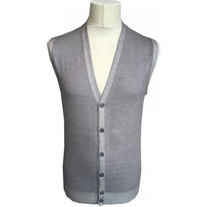 Gran Sasso Expressly For Robert Fuller Light Grey Sleeveless Cardigan 58102 22793