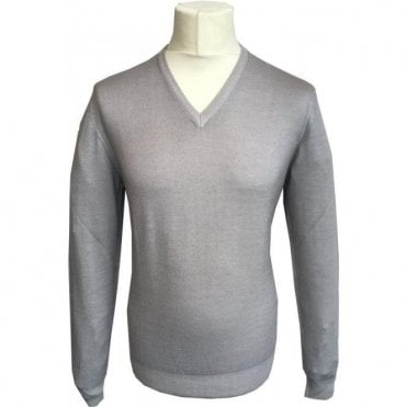 Gran Sasso Expressly For Robert Fuller Light Grey V-Neck Pullover 55115 22792