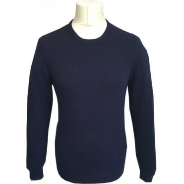 Gran Sasso Expressly For Robert Fuller Navy Crewneck Cashmere/Wool Blend Jumper 55167 1969