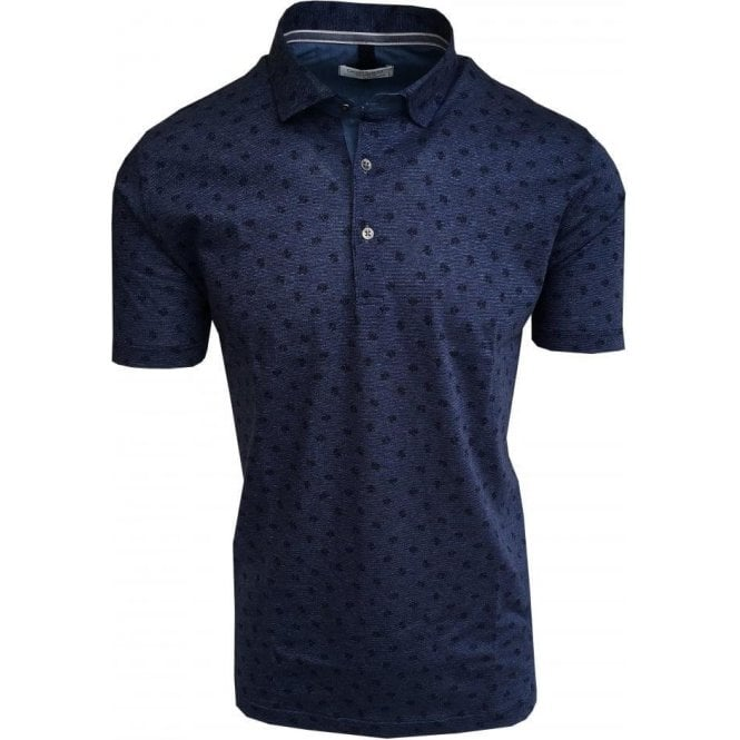 Gran Sasso Expressly For Robert Fuller Navy Patterned & Striped Polo Shirt 60168 66121 590