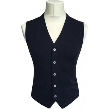 Gran Sasso Expressly For Robert Fuller Navy Single Breasted Waistcoat 56170 - 14252