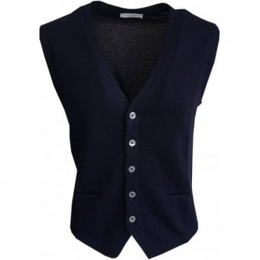 Gran Sasso Expressly For Robert Fuller Navy Single Breasted Waistcoat 5717 20662 598