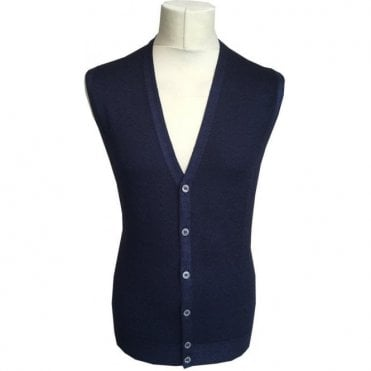 Gran Sasso Expressly For Robert Fuller Navy Sleeveless Cardigan 58102 22793