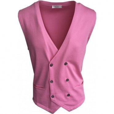 Gran Sasso Expressly For Robert Fuller Pink Double Breasted Waistcoat 57151 18196 220