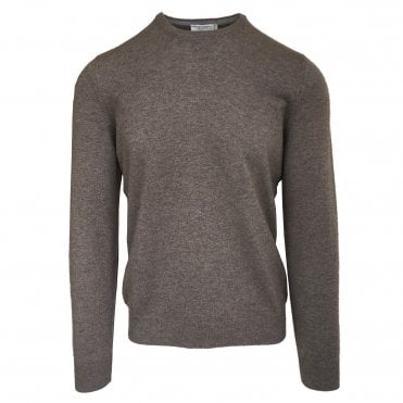 Robert Fuller Beige Crew Neck Wool Blend Jumper
