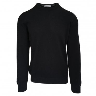 Robert Fuller Black Crew Neck Wool Blend Jumper