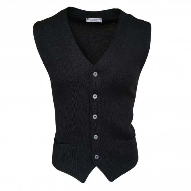 Gran Sasso Expressly For Robert Fuller Robert Fuller Black Single Breasted Waistcoat