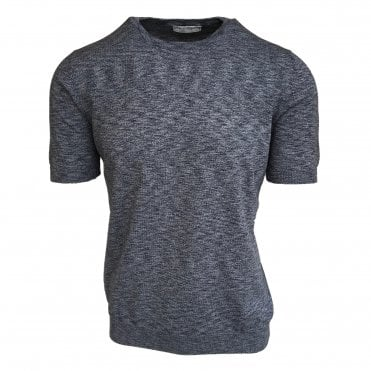 Robert Fuller Blue Melange Knitted Crewneck T-Shirt