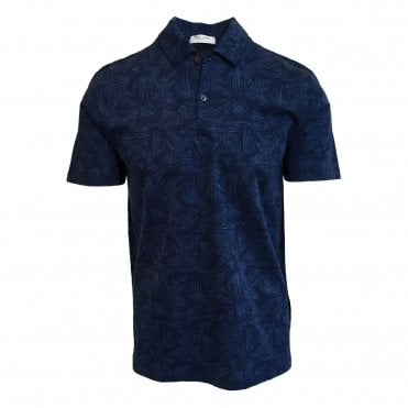 Robert Fuller Blue Printed Knitted Polo