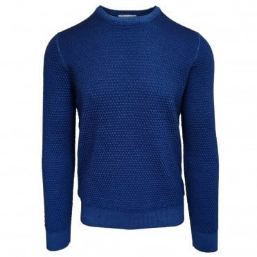 Robert Fuller Blue Textured Crew Neck Jumper