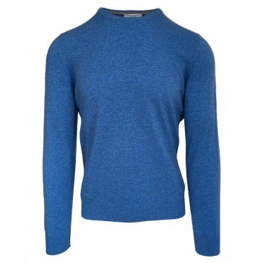 Robert Fuller Bright Blue Crew Neck Wool Blend Jumper