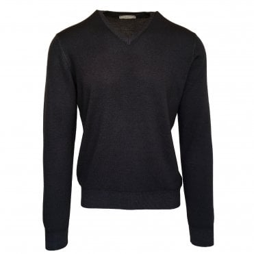 Robert Fuller Charcoal V-Neck Merino Wool Jumper
