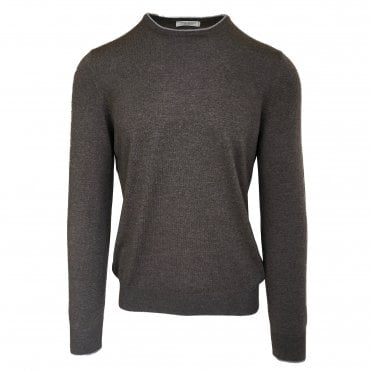 Robert Fuller Dark Beige Crew Neck Wool Jumper With Arm Patches and Contrasting Trim