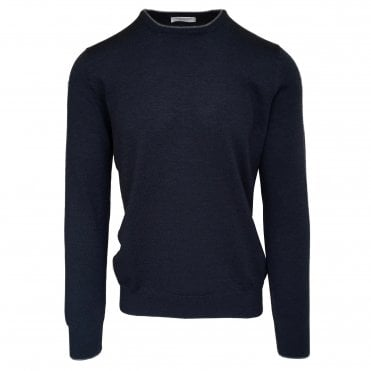 Robert Fuller Dark Blue Crew Neck Wool Jumper With Arm Patches and Contrasting Trim