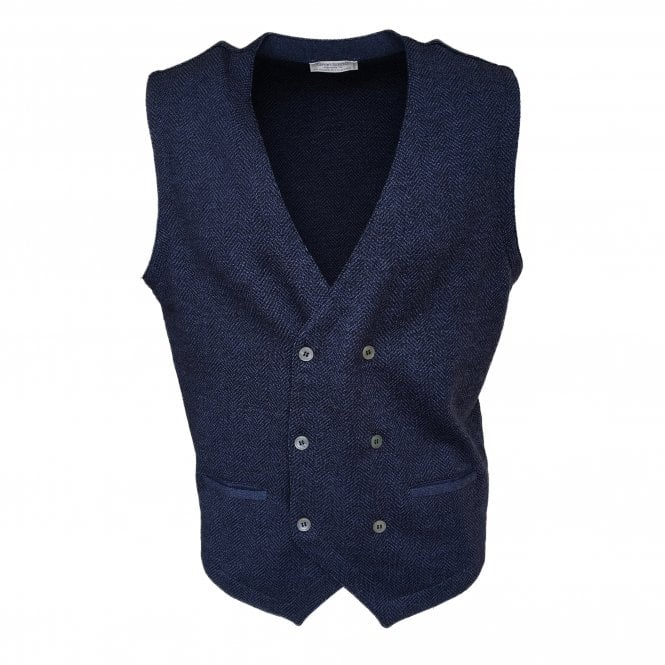 Gran Sasso Expressly For Robert Fuller Robert Fuller Dark Blue Double Breasted Waistcoat