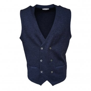 Robert Fuller Dark Blue Double Breasted Waistcoat