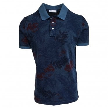 Robert Fuller Dark Blue Floral Print Knitted Polo
