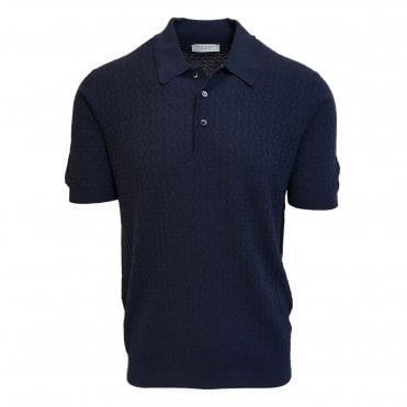 Robert Fuller Dark Blue Knitted Polo