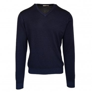 Robert Fuller Dark Blue V Neck Wool Jumper