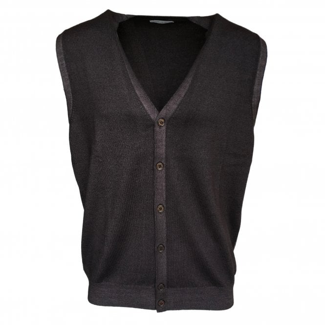 Gran Sasso Expressly For Robert Fuller Robert Fuller Dark Brown Single Breasted Waistcoat