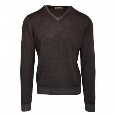 Robert Fuller Dark Brown V Neck Wool Jumper