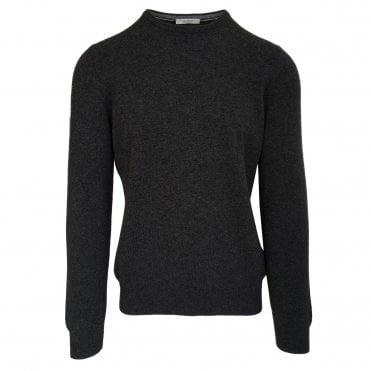 Robert Fuller Dark Grey Crew Neck Wool Blend Jumper