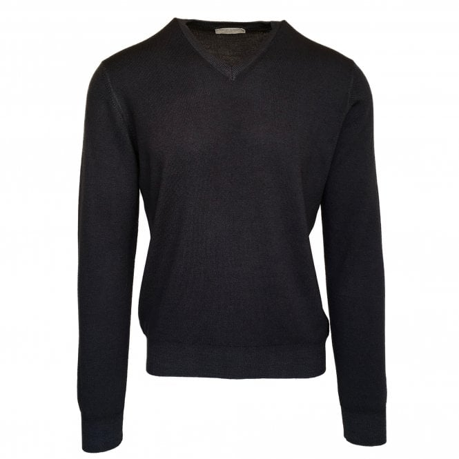 Gran Sasso Expressly For Robert Fuller Robert Fuller Dark Grey V Neck Wool Jumper