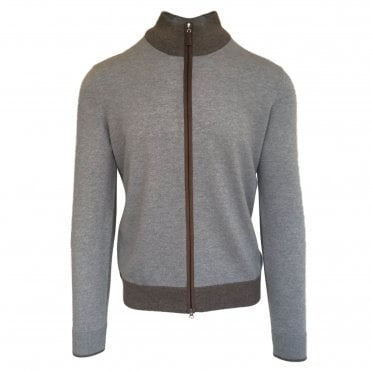 Robert Fuller Grey Zip-Up Wool Jumper with Brown Trim